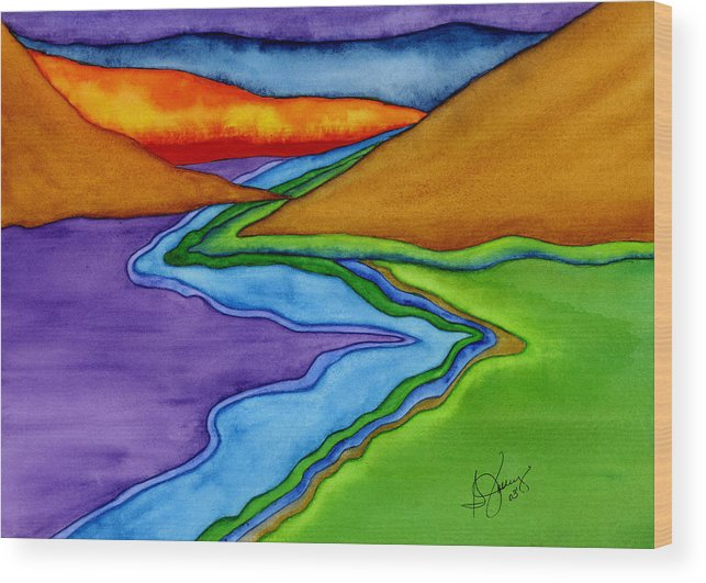 Abstract Wood Print featuring the painting Flow - Blending the Chakras by Stephanie Jolley