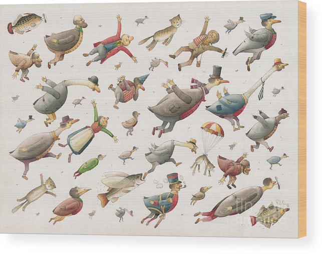 Sky Birds Flying Airplane Wood Print featuring the painting Flying by Kestutis Kasparavicius