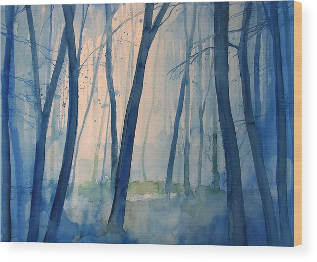 Tree Wood Print featuring the painting Fog in the forest by Alessandro Andreuccetti