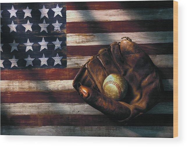 Folk Art American Flag Wood Print featuring the photograph Folk art American flag and baseball mitt by Garry Gay