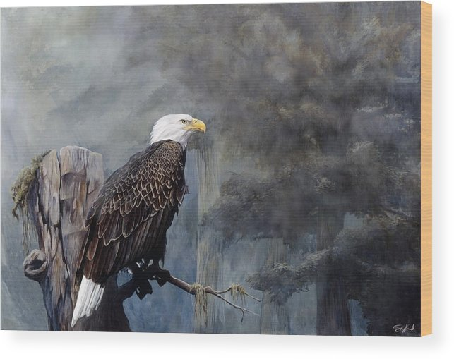 Eagle Art Wood Print featuring the painting Freedom Haze by Steve Goad