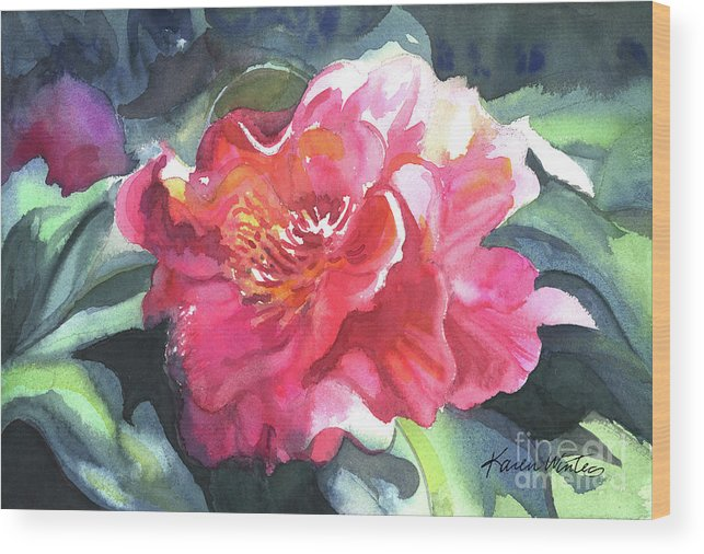 Camellia Wood Print featuring the painting Full Blown by Karen Winters