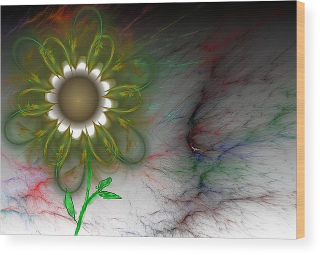 Digital Photography Wood Print featuring the digital art Funky Floral by David Lane