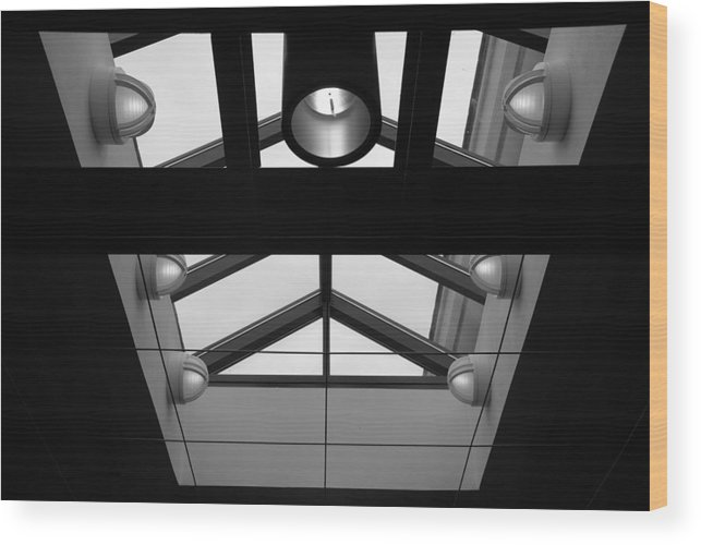 Black And White Wood Print featuring the photograph Glass Sky Lights by Rob Hans