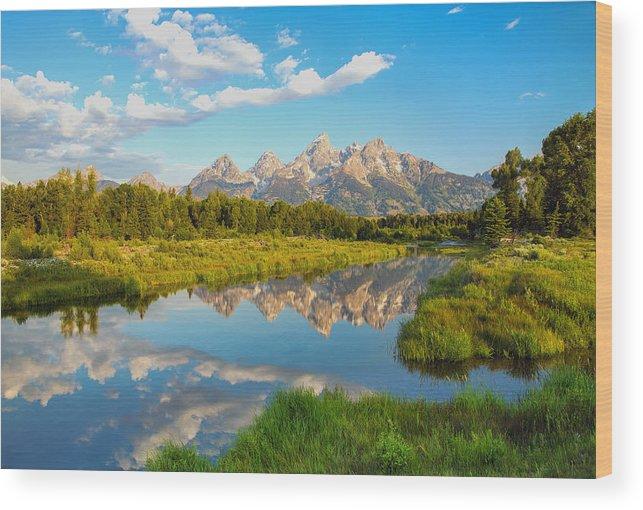 Grand Teton Wood Print featuring the photograph Good Morning Tetons by Robert Bynum