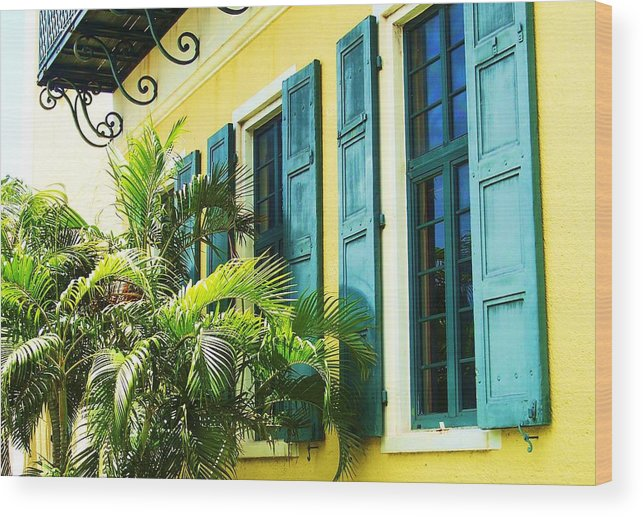 Architecture Wood Print featuring the photograph Green Shutters by Debbi Granruth