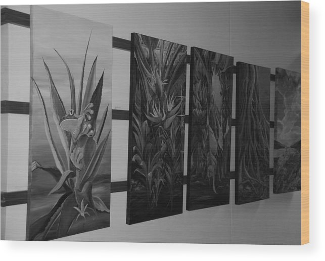 Black And White Wood Print featuring the photograph Hanging Art by Rob Hans