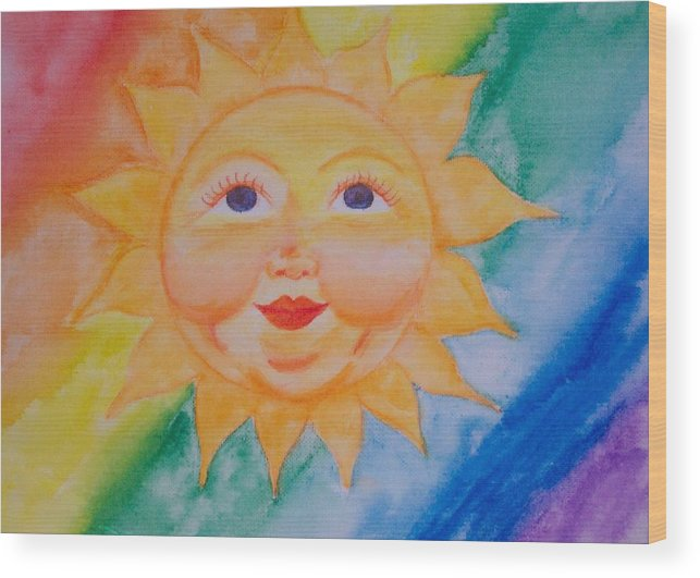 Sun Wood Print featuring the painting Happy Sun by Jennifer Hernandez