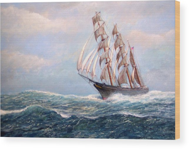 Tall Ships. Marine Art Wood Print featuring the painting Headin' Home by William H RaVell III