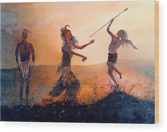 Africa Wood Print featuring the painting Home Comeing by Richard Barham