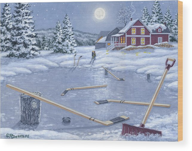Hockey Wood Print featuring the painting Home For Supper by Richard De Wolfe