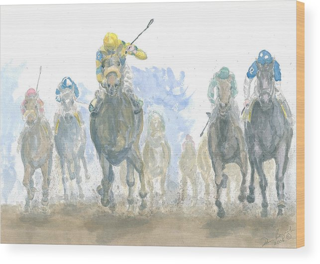 Horse Race Wood Print featuring the painting Homestretch by Dan Bozich