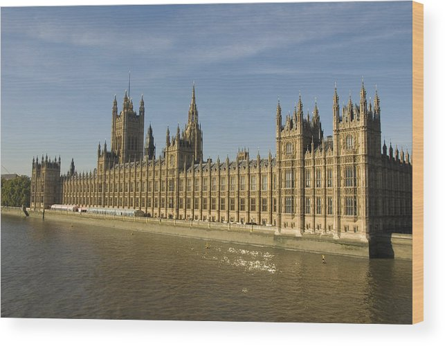 Parliament Wood Print featuring the photograph Houses of Parliament on a Rare Day by Charles Ridgway