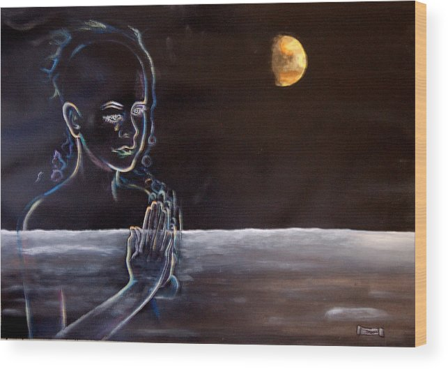 Moon Wood Print featuring the painting Human Spirit Moonscape by Susan Moore