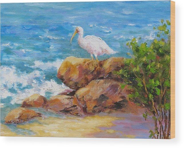 Ibis Wood Print featuring the painting Ibis at Seagate by Barrett Edwards