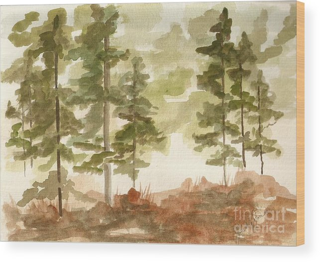 Trees Wood Print featuring the painting In the Trees by Jackie Mueller-Jones