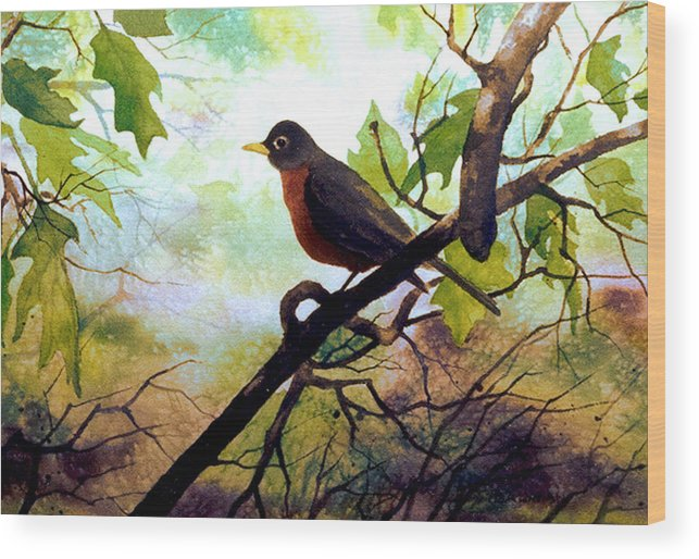 Wild Life Wood Print featuring the painting Just Ate and Cooling Off by Brooke Lyman