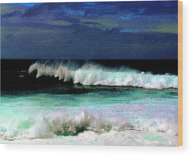 Waves Wood Print featuring the photograph Kaluakoi Surf by James Temple