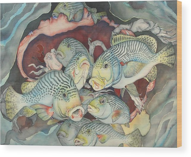 Sealife Wood Print featuring the painting La douce mer by Liduine Bekman