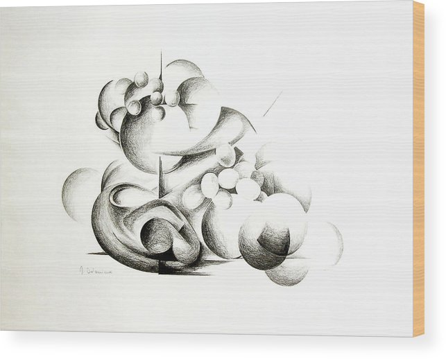 Abstract Wood Print featuring the drawing La guerre des bulles by Muriel Dolemieux