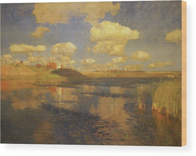 Isaac Levitan Wood Print featuring the painting Lake Russia by Isaac Levitan