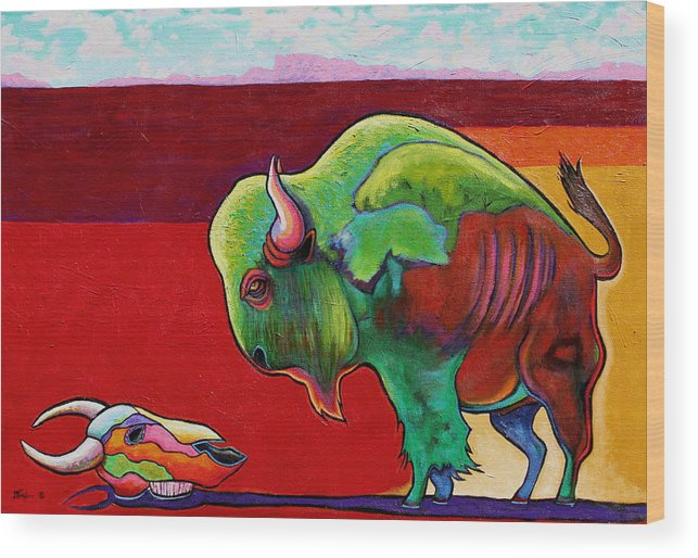 Wildlife Wood Print featuring the painting Lamenting the Leader by Joe Triano