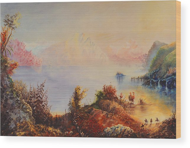 Western Wood Print featuring the painting Lewis And Clark by Richard Barham