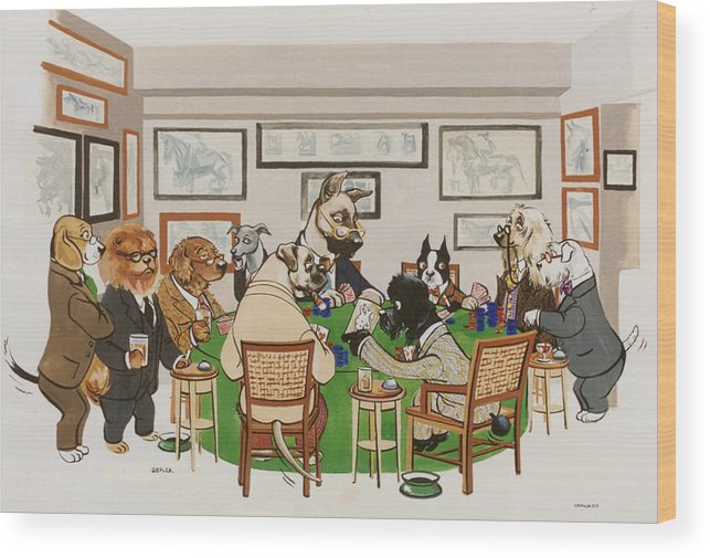 Poker Wood Print featuring the painting Lexington Club by Constance Depler Coleman