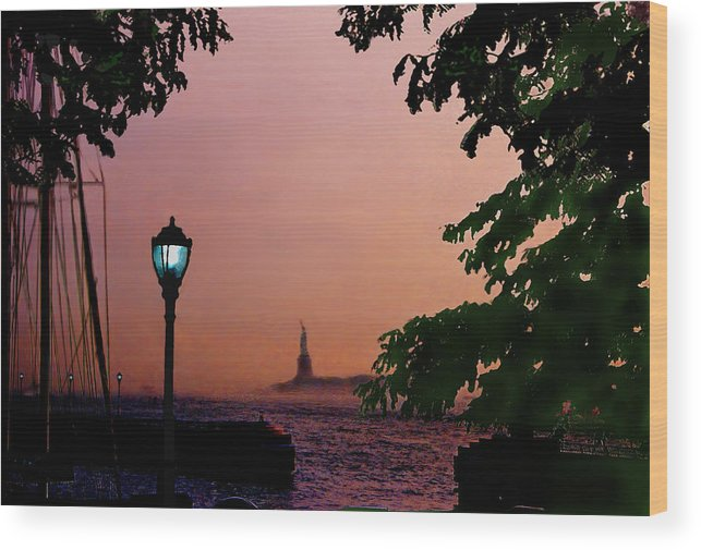 Seascape Wood Print featuring the digital art Liberty Fading seascape by Steve Karol