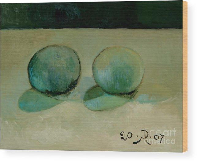 Still-life Reflection Pumpkins Wood Print featuring the painting Like in the rain by Raimonda Jatkeviciute-Kasparaviciene