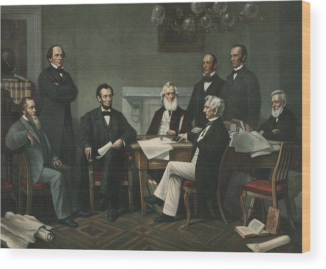 Lincoln S Cabinet Wood Print By Francis Bicknell Carpenter