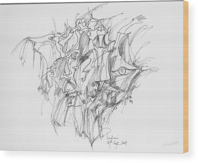 Forms Wood Print featuring the drawing Lines And Forms by Padamvir Singh