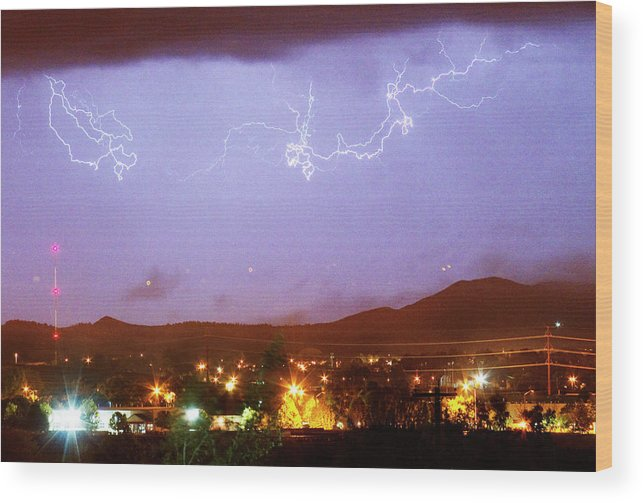Boulder County Wood Print featuring the photograph Loveland Colorado Front Range Foothills Lightning Thunderstorm by James BO Insogna