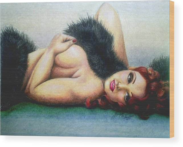 Woman Wood Print featuring the drawing Lustful Beauty by Scarlett Royal