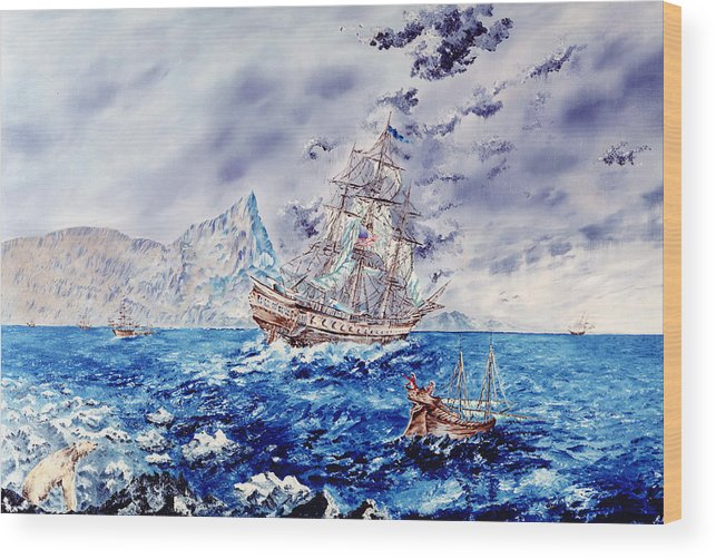 Tall Ships Wood Print featuring the painting Maiden Voyage by Richard Barham