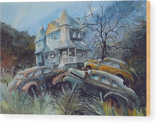 Old Chevies Wood Print featuring the painting Maybe Rot Maybe Not by Ron Morrison