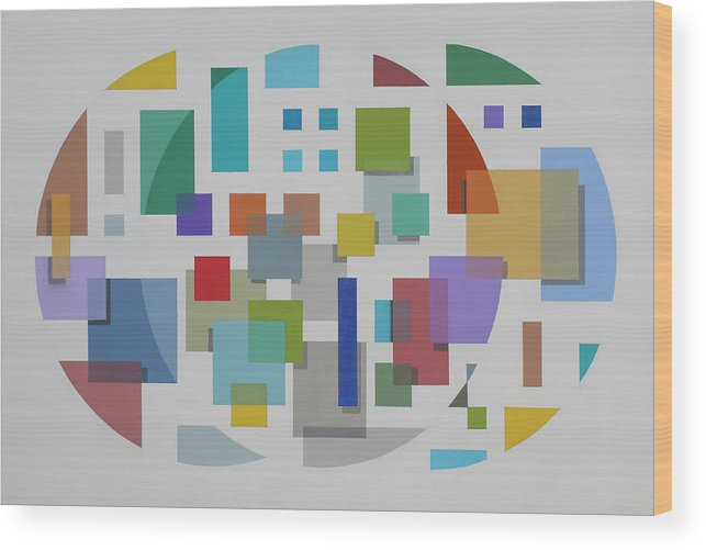 Geometric Abstract Wood Print featuring the painting Moon Gate Series #2 by Marston A Jaquis