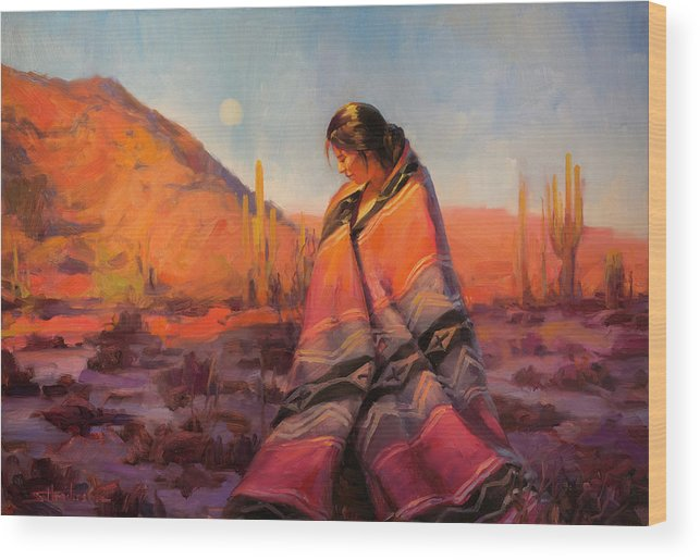 Southwest Wood Print featuring the painting Moon Rising by Steve Henderson