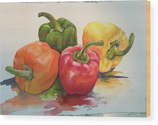 Watercolor Wood Print featuring the painting More peppers by Diane Ziemski