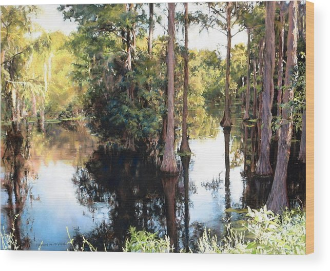 River Wood Print featuring the painting Morning on the River by Marion Hylton
