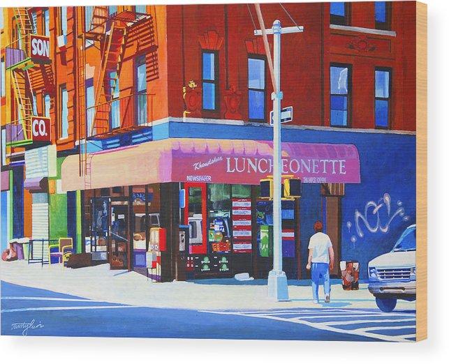 New York City Wood Print featuring the painting Mott Street by John Tartaglione