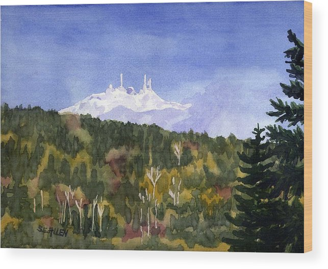 Landscape Wood Print featuring the painting Almost Mystical by Sharon E Allen