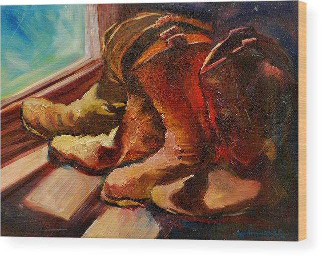 Boots Wood Print featuring the painting My Favorite Boots by Diane Whitehead