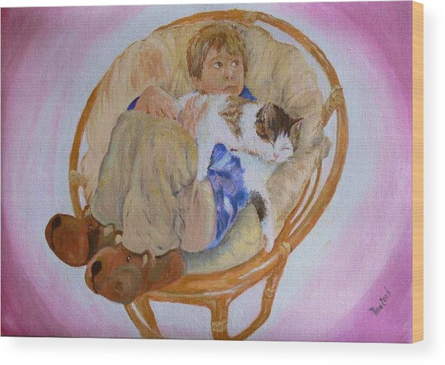 Portrait Wood Print featuring the painting my grandson Pascal with his cat Paul by Helmut Rottler
