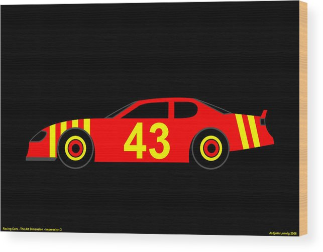 Nascar Wood Print featuring the digital art Nascar by Asbjorn Lonvig