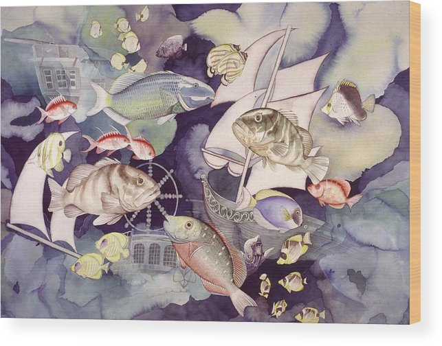 Sealife Wood Print featuring the painting Nautical players by Liduine Bekman