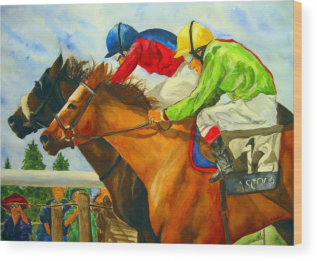 Horse Wood Print featuring the painting Nose to Nose by Jean Blackmer