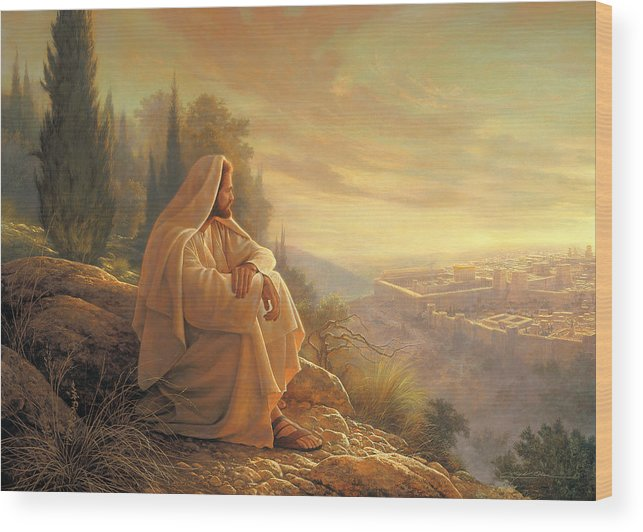 Esus Wood Print featuring the painting O Jerusalem by Greg Olsen
