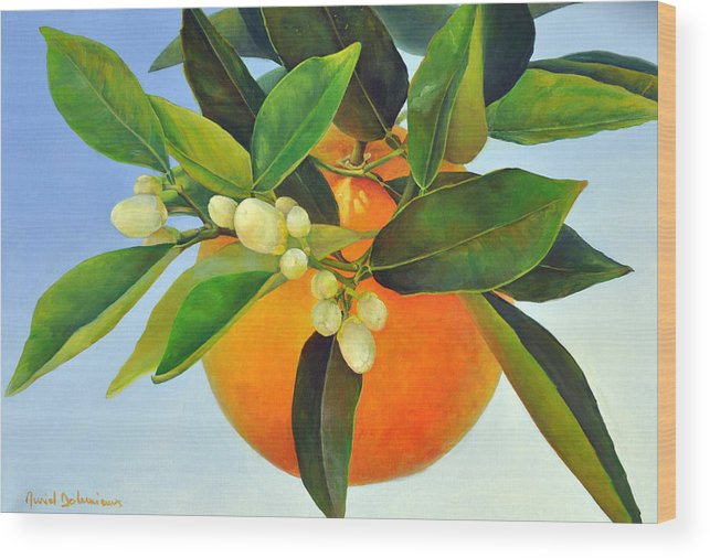 Floral Painting Wood Print featuring the painting Orange feuillue by Muriel Dolemieux