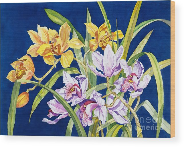 Orchids Wood Print featuring the painting Orchids In Blue by Lucy Arnold